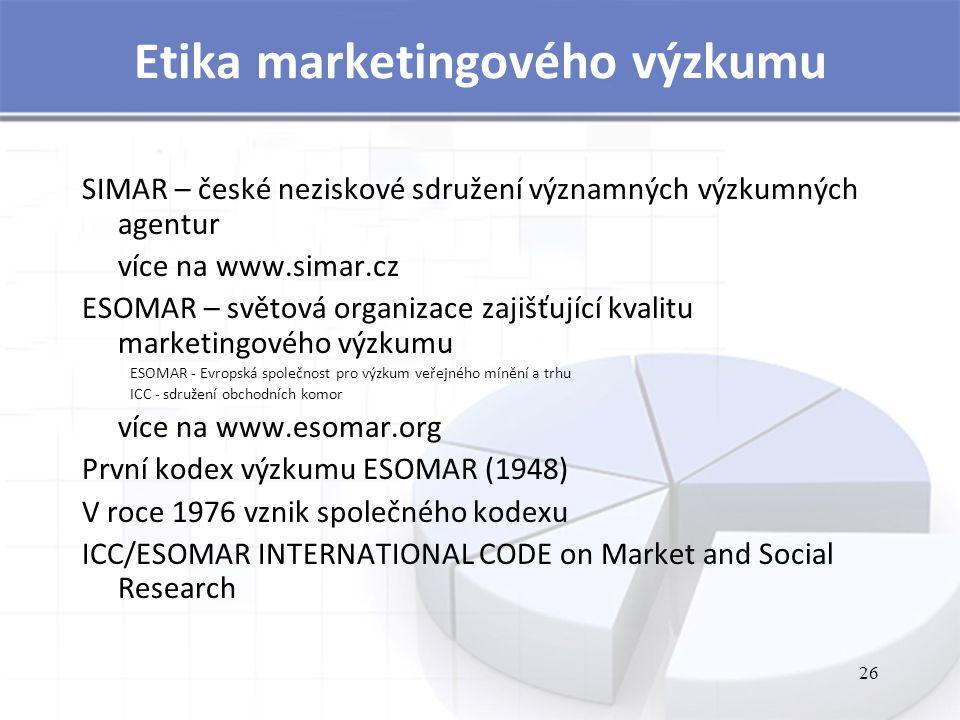 26 Etika marketingového výzkumu SIMAR – české neziskové sdružení významných výzkumných agentur více na www.simar.cz ESOMAR – světová organizace zajišťující kvalitu marketingového výzkumu ESOMAR - Evropská společnost pro výzkum veřejného mínění a trhu ICC - sdružení obchodních komor více na www.esomar.org První kodex výzkumu ESOMAR (1948) V roce 1976 vznik společného kodexu ICC/ESOMAR INTERNATIONAL CODE on Market and Social Research