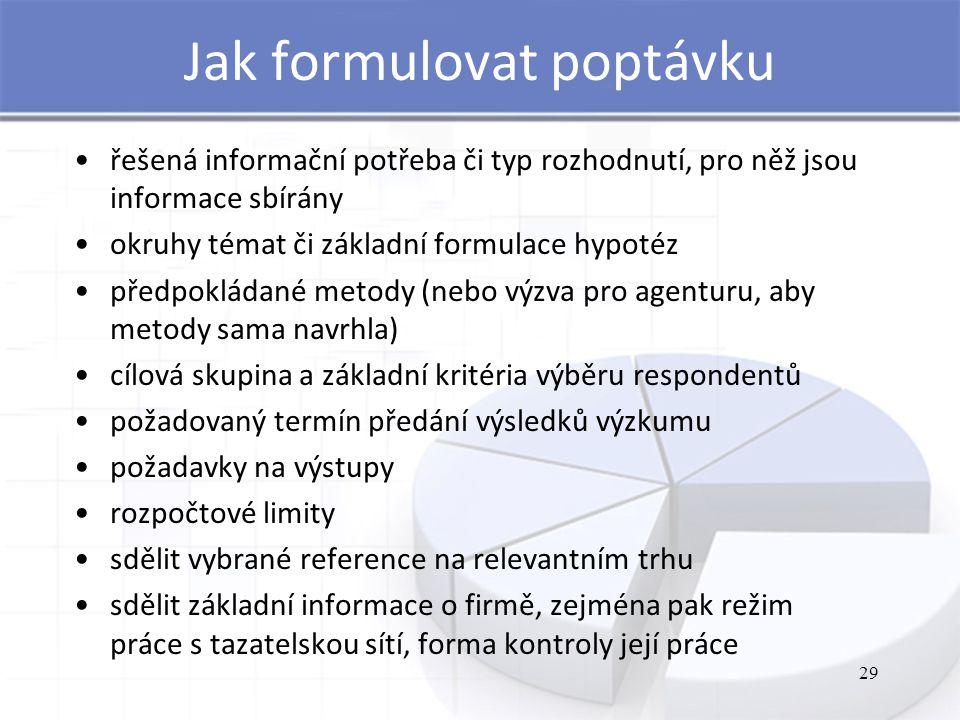 Jak formulovat poptávku řešená informační potřeba či typ rozhodnutí, pro něž jsou informace sbírány okruhy témat či základní formulace hypotéz předpokládané metody (nebo výzva pro agenturu, aby metody sama navrhla) cílová skupina a základní kritéria výběru respondentů požadovaný termín předání výsledků výzkumu požadavky na výstupy rozpočtové limity sdělit vybrané reference na relevantním trhu sdělit základní informace o firmě, zejména pak režim práce s tazatelskou sítí, forma kontroly její práce 29