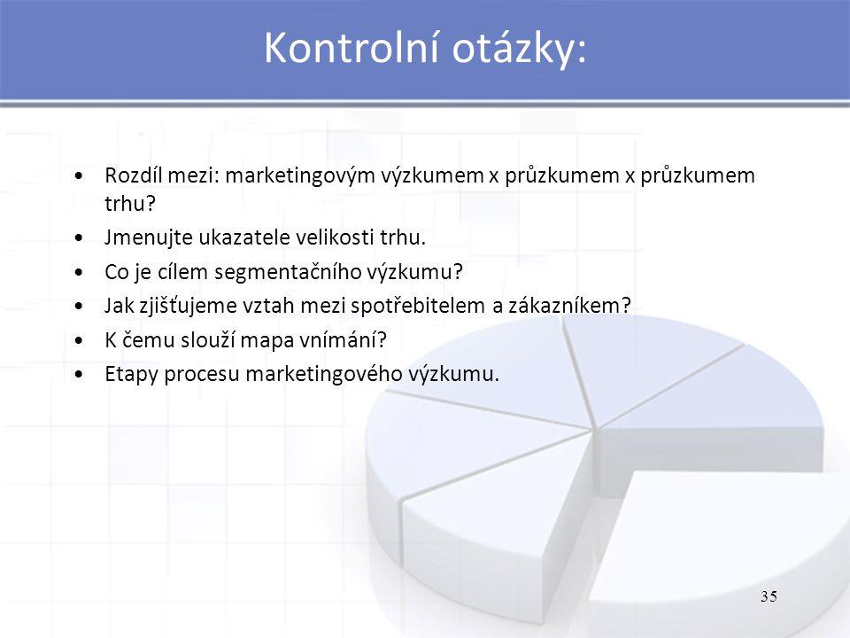 35 Kontrolní otázky: Rozdíl mezi: marketingovým výzkumem x průzkumem x průzkumem trhu? Jmenujte ukazatele velikosti trhu. Co je cílem segmentačního vý