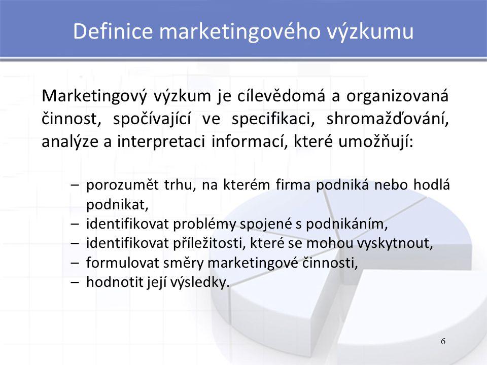 6 Definice marketingového výzkumu Marketingový výzkum je cílevědomá a organizovaná činnost, spočívající ve specifikaci, shromažďování, analýze a inter