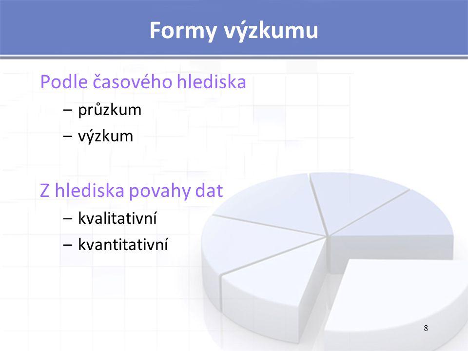 8 Formy výzkumu Podle časového hlediska –průzkum –výzkum Z hlediska povahy dat –kvalitativní –kvantitativní