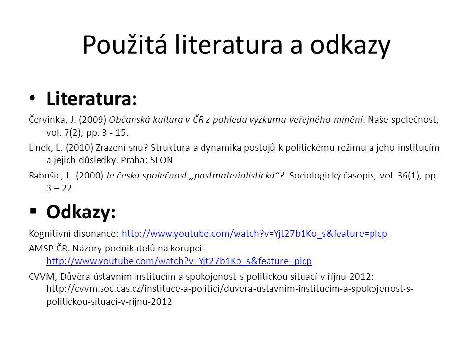 Použitá literatura a odkazy Literatura: Červinka, J. (2009) Občanská kultura v ČR z pohledu výzkumu veřejného mínění. Naše společnost, vol. 7(2), pp.