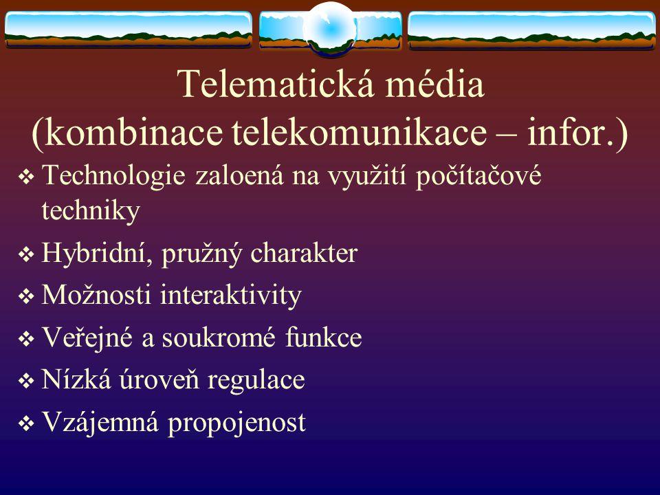 Telematická média (kombinace telekomunikace – infor.)  Technologie zaloená na využití počítačové techniky  Hybridní, pružný charakter  Možnosti int