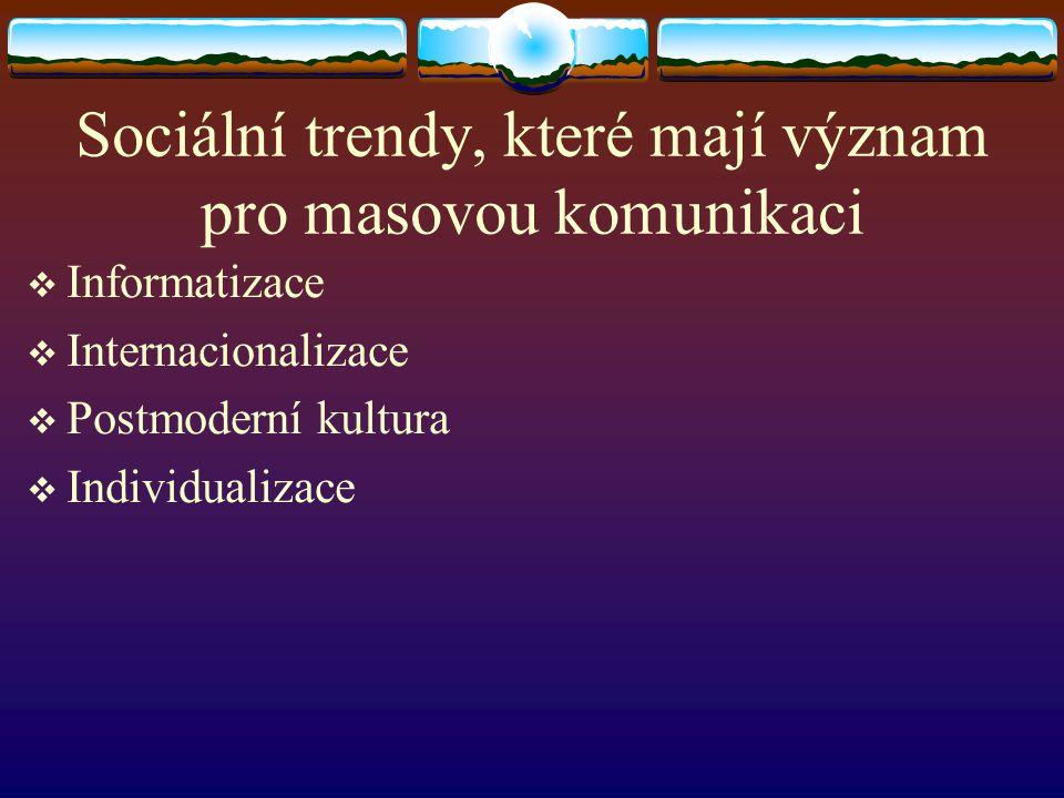Sociální trendy, které mají význam pro masovou komunikaci  Informatizace  Internacionalizace  Postmoderní kultura  Individualizace