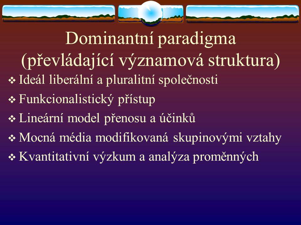 Dominantní paradigma (převládající významová struktura)  Ideál liberální a pluralitní společnosti  Funkcionalistický přístup  Lineární model přenos