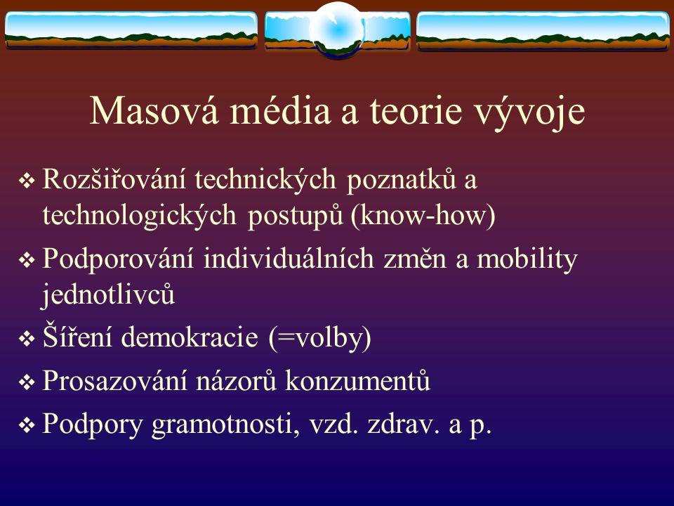 Masová média a teorie vývoje  Rozšiřování technických poznatků a technologických postupů (know-how)  Podporování individuálních změn a mobility jedn