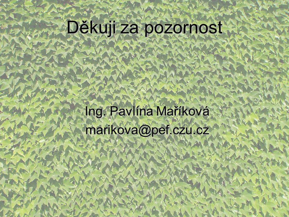 Děkuji za pozornost Ing. Pavlína Maříková marikova@pef.czu.cz