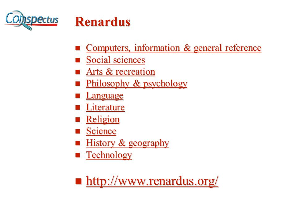 Renardus Computers, information & general reference Computers, information & general reference Computers, information & general reference Computers, i