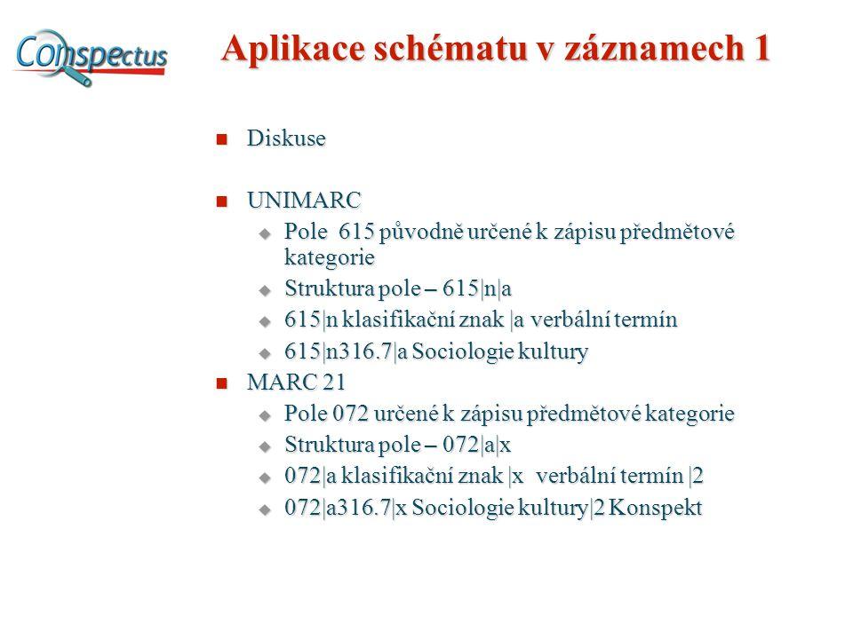 Aplikace schématu v záznamech 1 Diskuse Diskuse UNIMARC UNIMARC  Pole 615 původně určené k zápisu předmětové kategorie  Struktura pole – 615|n|a  615|n klasifikační znak |a verbální termín  615|n316.7|a Sociologie kultury MARC 21 MARC 21  Pole 072 určené k zápisu předmětové kategorie  Struktura pole – 072|a|x  072|a klasifikační znak |x verbální termín |2  072|a316.7|x Sociologie kultury|2 Konspekt