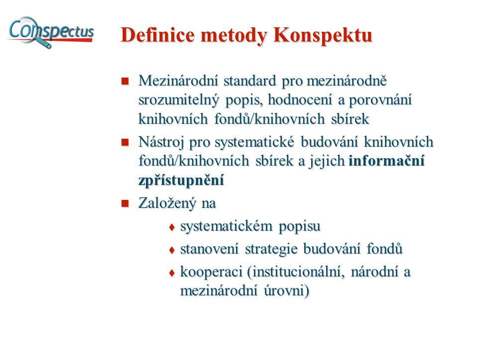 Definice metody Konspektu Mezinárodní standard pro mezinárodně srozumitelný popis, hodnocení a porovnání knihovních fondů/knihovních sbírek Mezinárodní standard pro mezinárodně srozumitelný popis, hodnocení a porovnání knihovních fondů/knihovních sbírek Nástroj pro systematické budování knihovních fondů/knihovních sbírek a jejich informační zpřístupnění Nástroj pro systematické budování knihovních fondů/knihovních sbírek a jejich informační zpřístupnění Založený na Založený na  systematickém popisu  stanovení strategie budování fondů  kooperaci (institucionální, národní a mezinárodní úrovni)