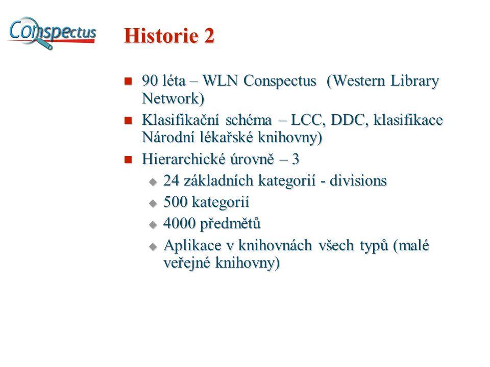 Historie 2 90 léta – WLN Conspectus (Western Library Network) 90 léta – WLN Conspectus (Western Library Network) Klasifikační schéma – LCC, DDC, klasifikace Národní lékařské knihovny) Klasifikační schéma – LCC, DDC, klasifikace Národní lékařské knihovny) Hierarchické úrovně – 3 Hierarchické úrovně – 3  24 základních kategorií - divisions  500 kategorií  4000 předmětů  Aplikace v knihovnách všech typů (malé veřejné knihovny)