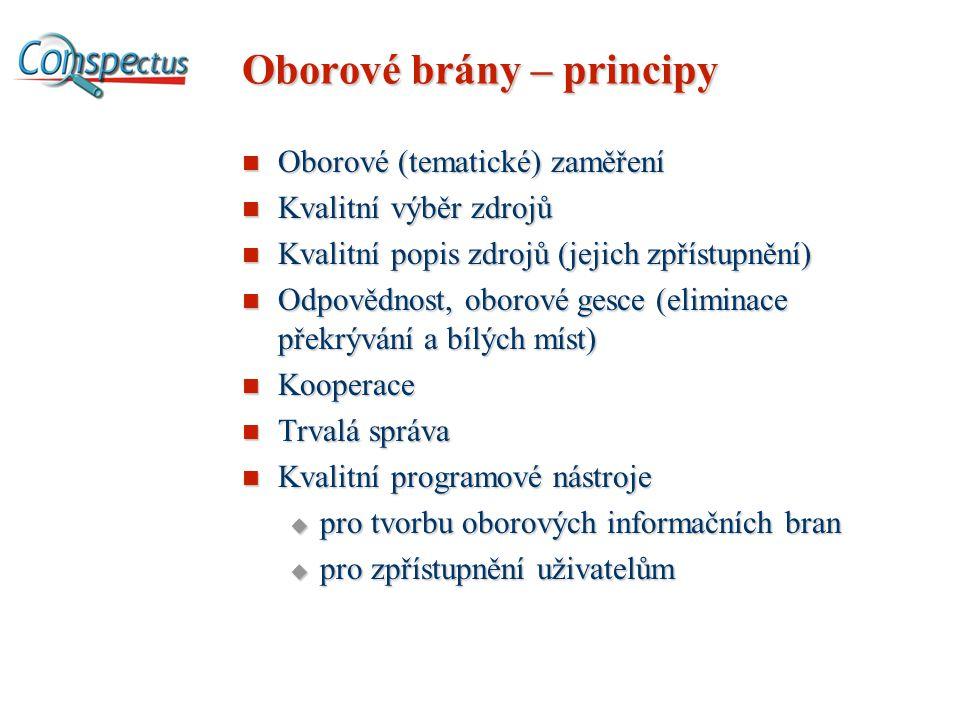 Oborové brány – principy Oborové (tematické) zaměření Oborové (tematické) zaměření Kvalitní výběr zdrojů Kvalitní výběr zdrojů Kvalitní popis zdrojů (