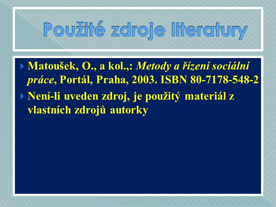  Matoušek, O., a kol.,: Metody a řízení sociální práce, Portál, Praha, 2003. ISBN 80-7178-548-2  Není-li uveden zdroj, je použitý materiál z vlastní