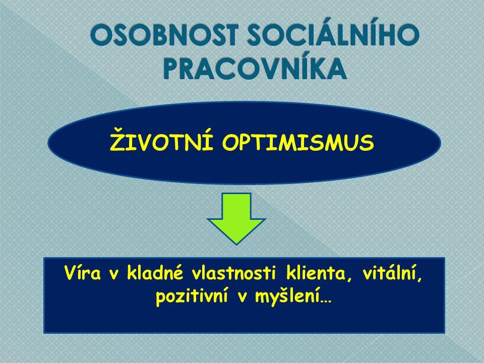 ŽIVOTNÍ OPTIMISMUS Víra v kladné vlastnosti klienta, vitální, pozitivní v myšlení…