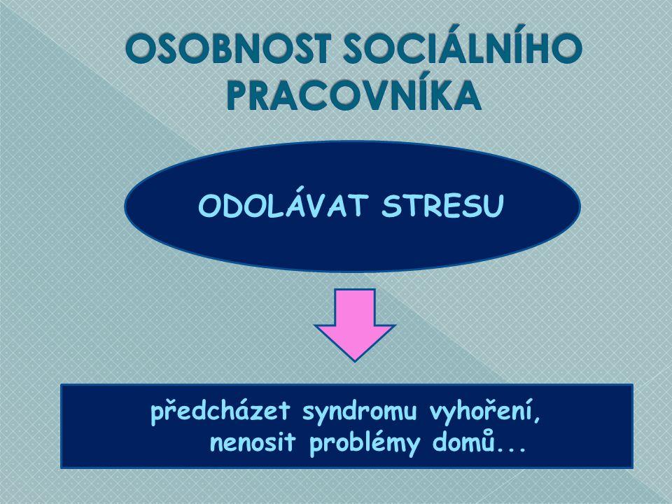 ODOLÁVAT STRESU předcházet syndromu vyhoření, nenosit problémy domů...