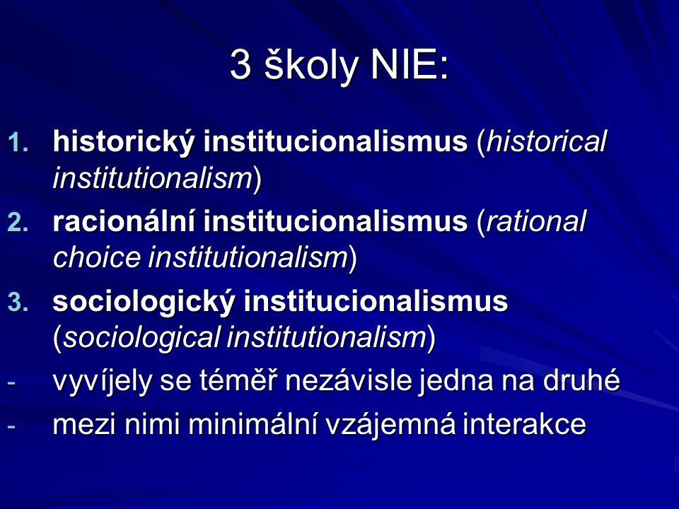 3 školy NIE: 1. historický institucionalismus (historical institutionalism) 2. racionální institucionalismus (rational choice institutionalism) 3. soc