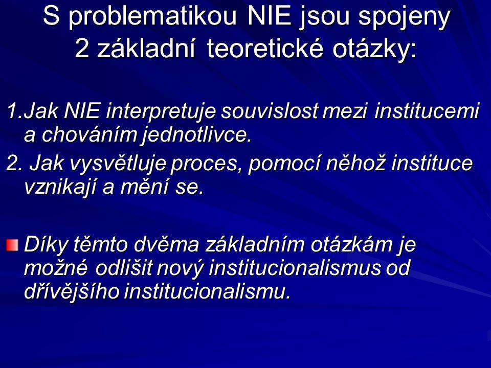 S problematikou NIE jsou spojeny 2 základní teoretické otázky: 1.Jak NIE interpretuje souvislost mezi institucemi a chováním jednotlivce. 2. Jak vysvě