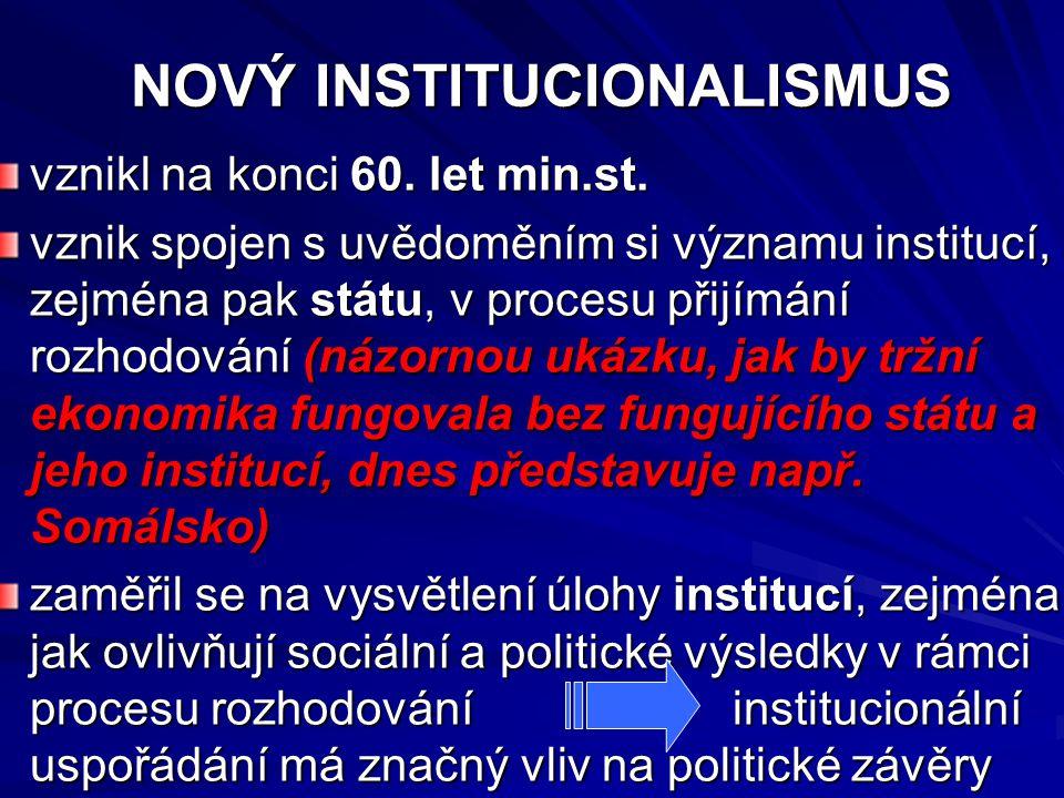 NOVÝ INSTITUCIONALISMUS NOVÝ INSTITUCIONALISMUS vznikl na konci 60. let min.st. vznik spojen s uvědoměním si významu institucí, zejména pak státu, v p