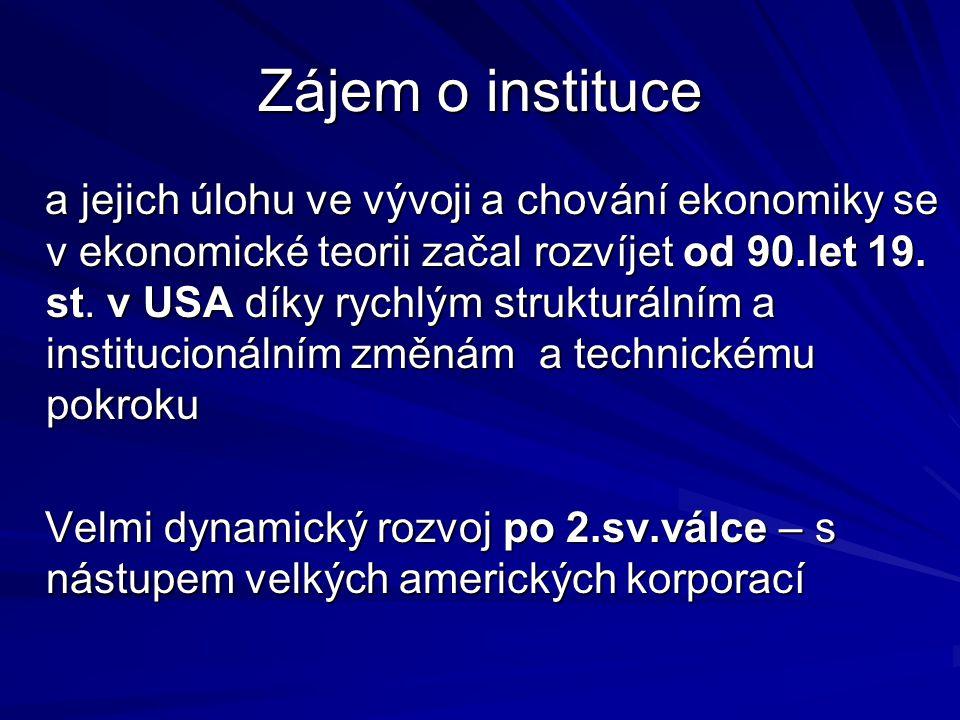 Klíčové předměty NIE 1.Instituce 2.
