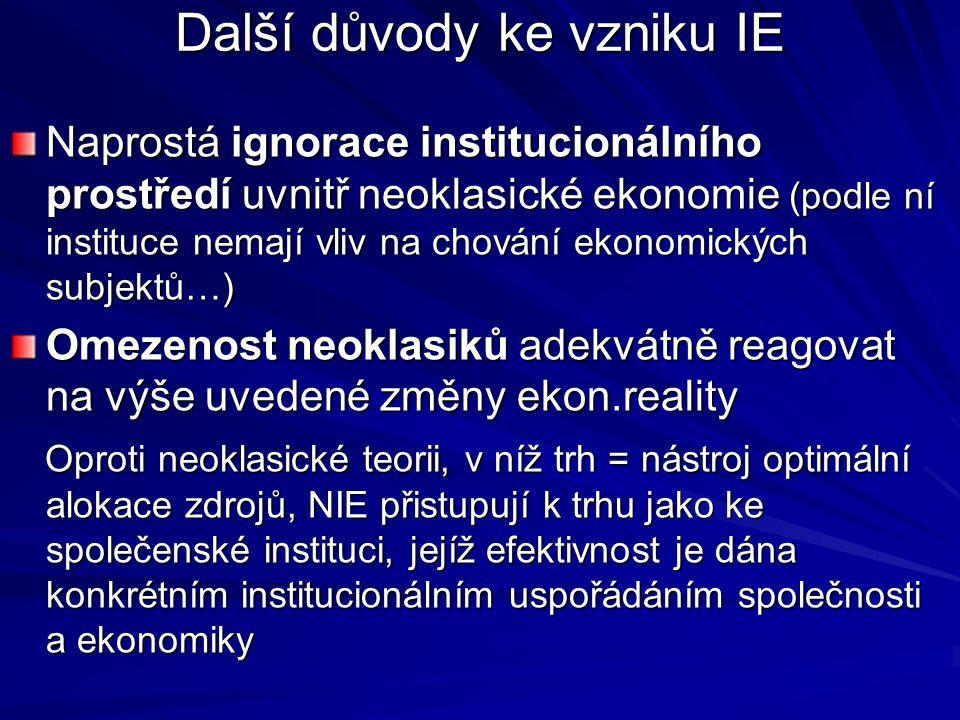 Další důvody ke vzniku IE Naprostá ignorace institucionálního prostředí uvnitř neoklasické ekonomie (podle ní instituce nemají vliv na chování ekonomi