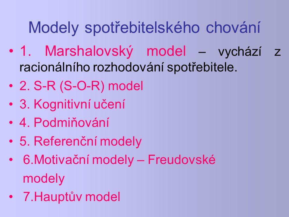 Modely spotřebitelského chování 1. Marshalovský model – vychází z racionálního rozhodování spotřebitele. 2. S-R (S-O-R) model 3. Kognitivní učení 4. P