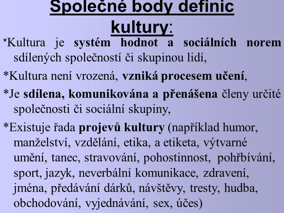 Společné body definic kultury: * Kultura je systém hodnot a sociálních norem sdílených společností či skupinou lidí, *Kultura není vrozená, vzniká pro
