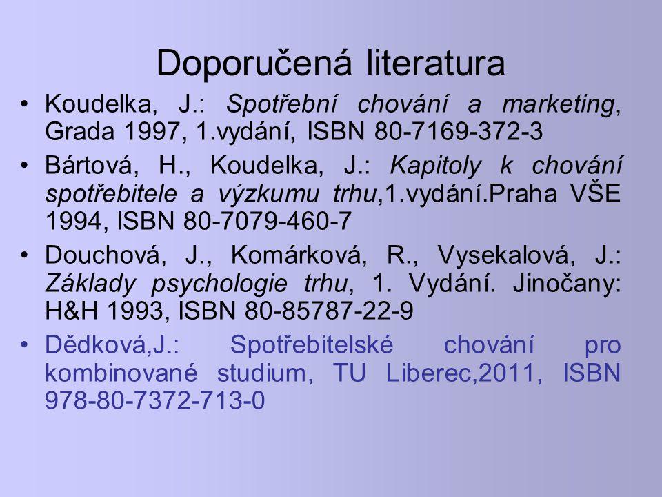 Doporučená literatura Koudelka, J.: Spotřební chování a marketing, Grada 1997, 1.vydání, ISBN 80-7169-372-3 Bártová, H., Koudelka, J.: Kapitoly k chov