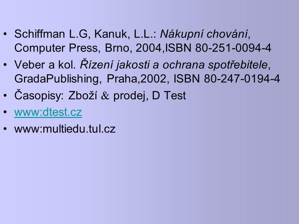 Schiffman L.G, Kanuk, L.L.: Nákupní chování, Computer Press, Brno, 2004,ISBN 80-251-0094-4 Veber a kol. Řízení jakosti a ochrana spotřebitele, GradaPu