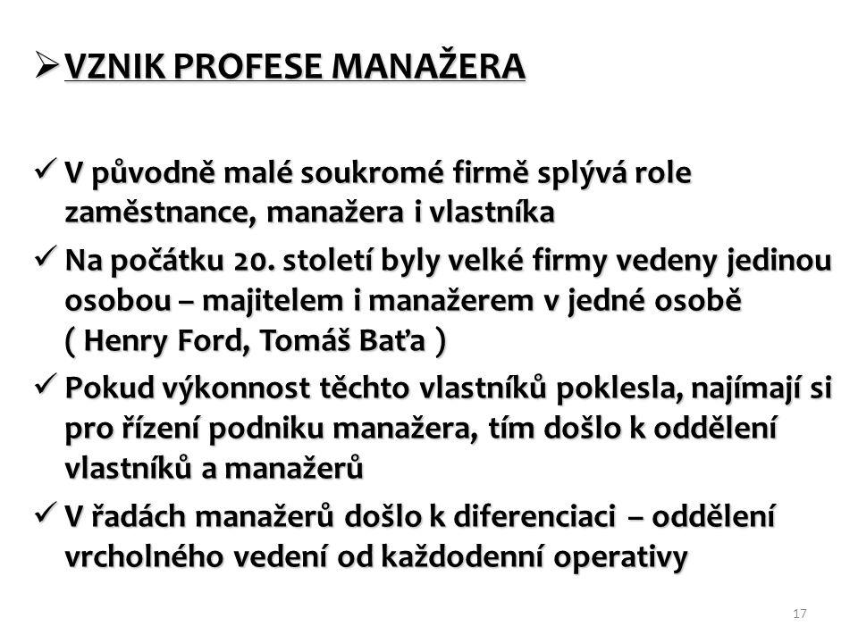  VZNIK PROFESE MANAŽERA V původně malé soukromé firmě splývá role zaměstnance, manažera i vlastníka V původně malé soukromé firmě splývá role zaměstnance, manažera i vlastníka Na počátku 20.