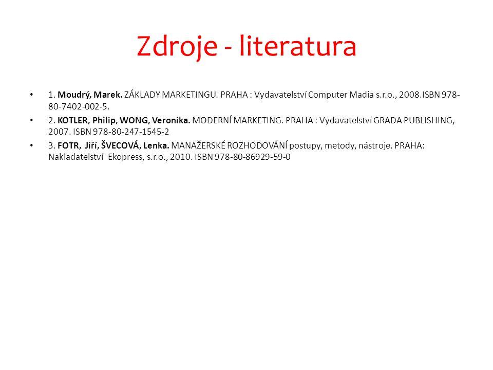 Zdroje - literatura 1.Moudrý, Marek. ZÁKLADY MARKETINGU.