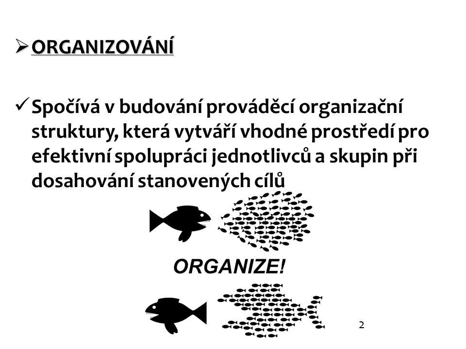  ORGANIZOVÁNÍ Spočívá v budování prováděcí organizační struktury, která vytváří vhodné prostředí pro efektivní spolupráci jednotlivců a skupin při dosahování stanovených cílů 2