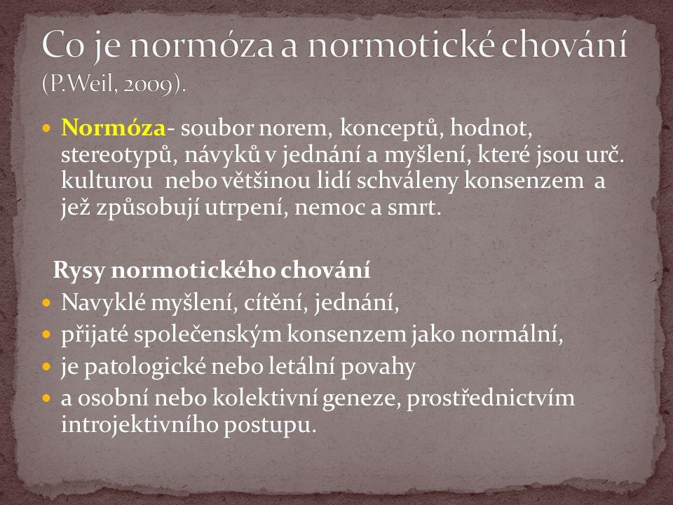 Normóza- soubor norem, konceptů, hodnot, stereotypů, návyků v jednání a myšlení, které jsou urč.