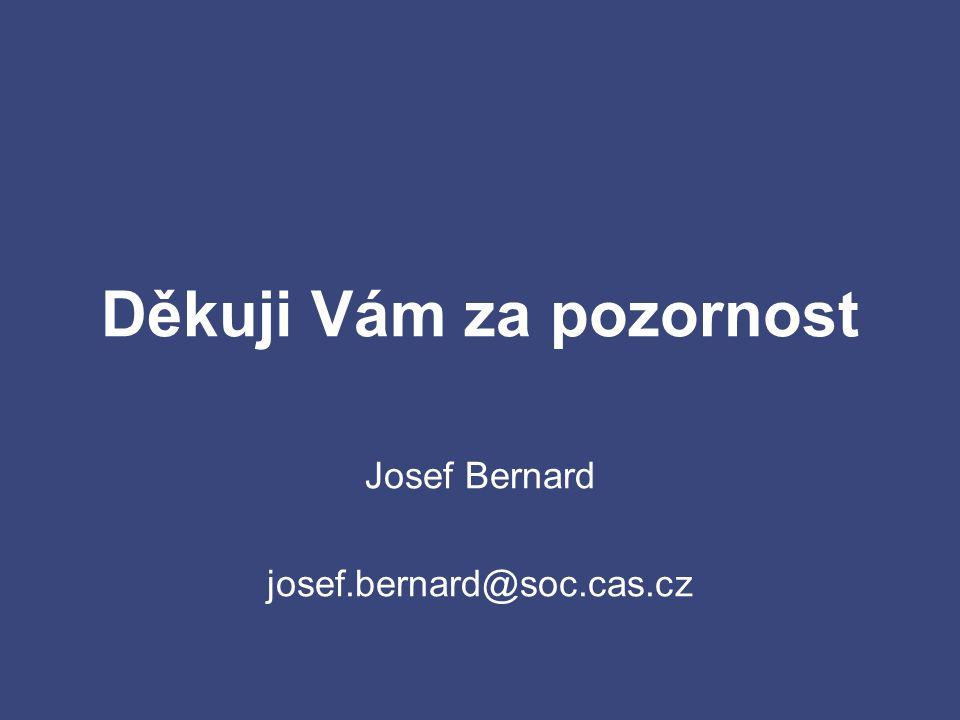 Děkuji Vám za pozornost Josef Bernard josef.bernard@soc.cas.cz