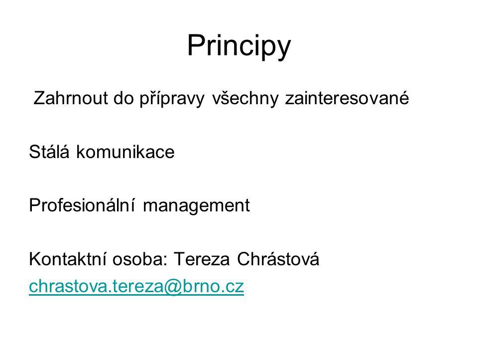 Principy Zahrnout do přípravy všechny zainteresované Stálá komunikace Profesionální management Kontaktní osoba: Tereza Chrástová chrastova.tereza@brno