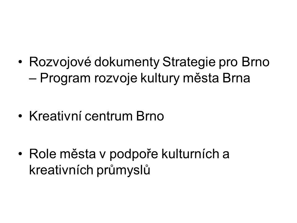 Rozvojové dokumenty Strategie pro Brno – Program rozvoje kultury města Brna Kreativní centrum Brno Role města v podpoře kulturních a kreativních průmy