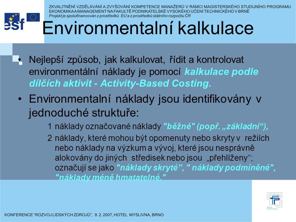 Environmentalní kalkulace Nejlepší způsob, jak kalkulovat, řídit a kontrolovat environmentální náklady je pomocí kalkulace podle dílčích aktivit - Activity-Based Costing.