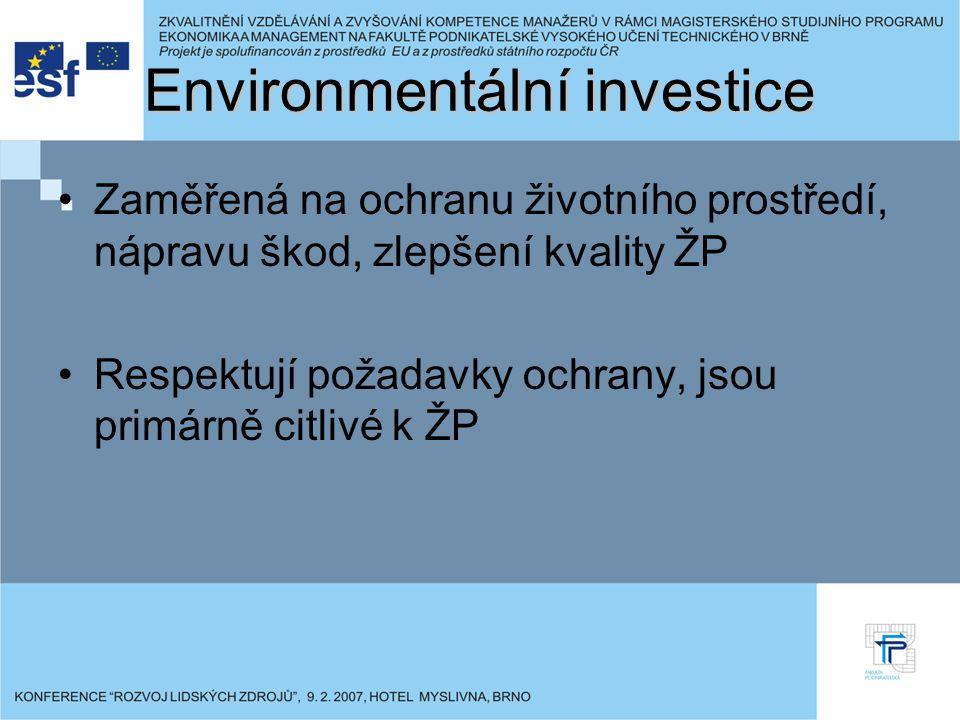 Environmentální investice Zaměřená na ochranu životního prostředí, nápravu škod, zlepšení kvality ŽP Respektují požadavky ochrany, jsou primárně citli