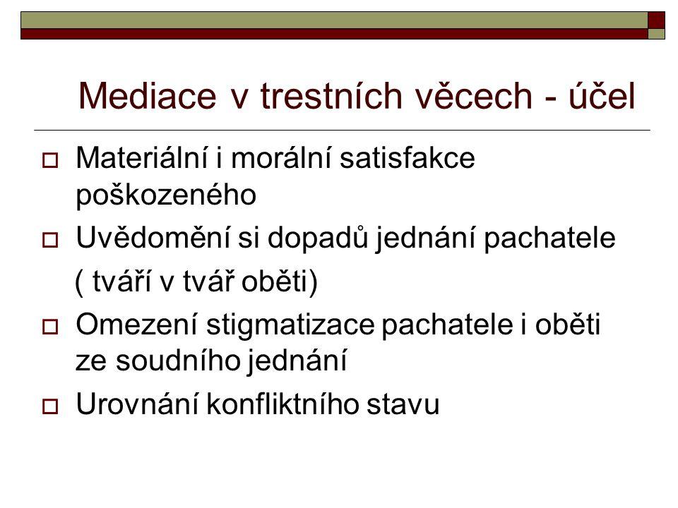 Mediace v trestních věcech - účel  Materiální i morální satisfakce poškozeného  Uvědomění si dopadů jednání pachatele ( tváří v tvář oběti)  Omezen