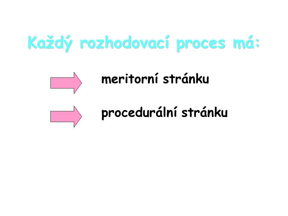 Každý rozhodovací proces má: meritorní stránku procedurální stránku