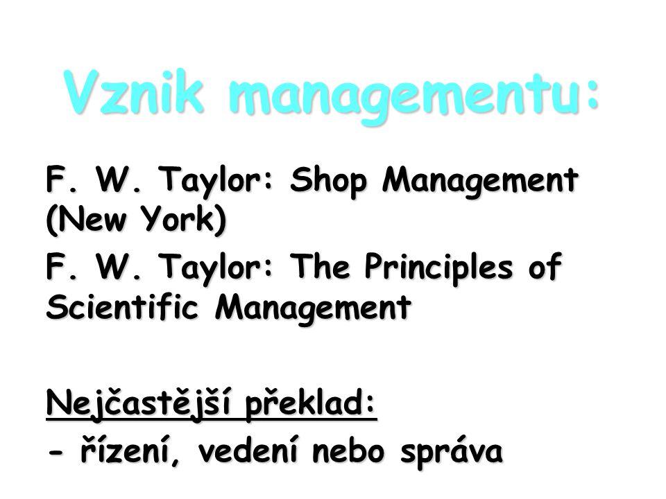 Vznik managementu: F. W. Taylor: Shop Management (New York) F. W. Taylor: The Principles of Scientific Management Nejčastější překlad: - řízení, veden