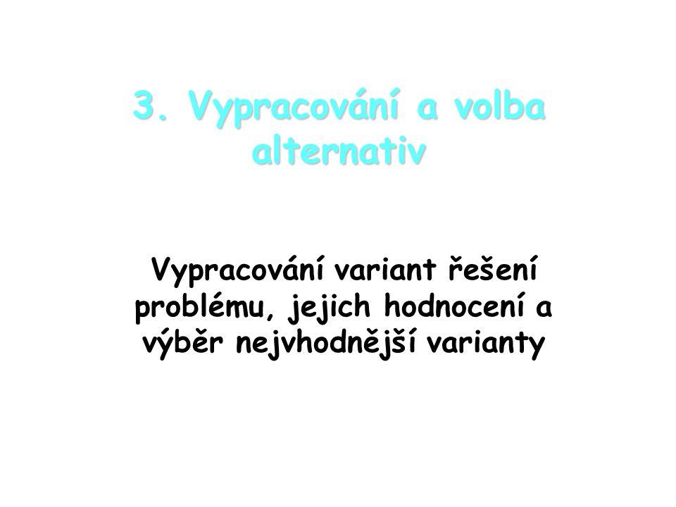 3. Vypracování a volba alternativ Vypracování variant řešení problému, jejich hodnocení a výběr nejvhodnější varianty
