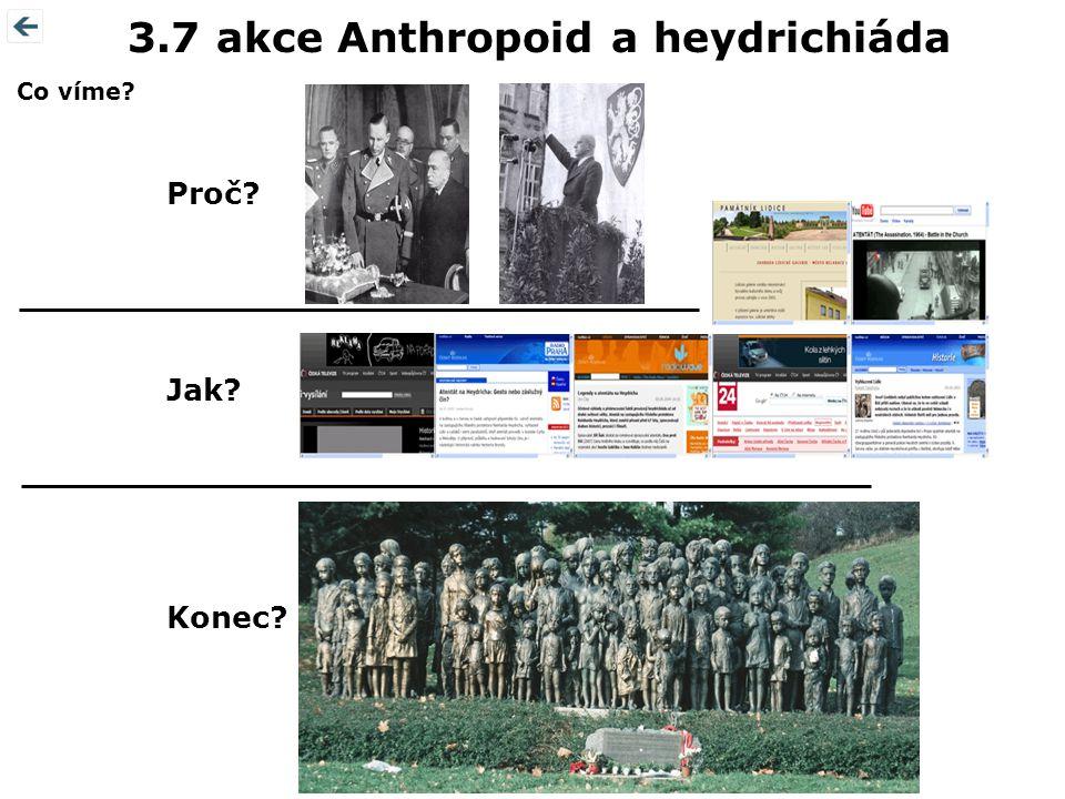 Konec? Proč? 3.7 akce Anthropoid a heydrichiáda Jak? Co víme?