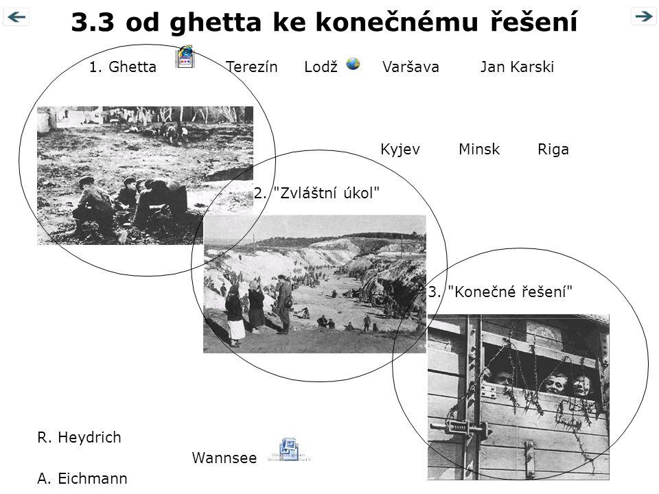 3.3 od ghetta ke konečnému řešení 1.Ghetta 2. Zvláštní úkol 3.