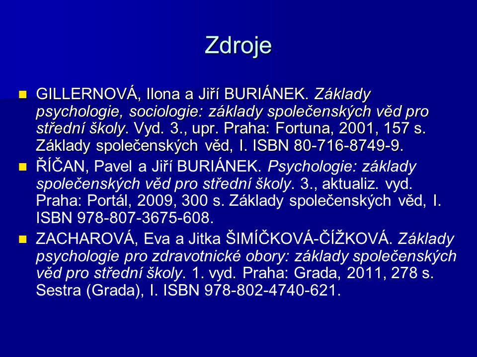 Zdroje GILLERNOVÁ, Ilona a Jiří BURIÁNEK.