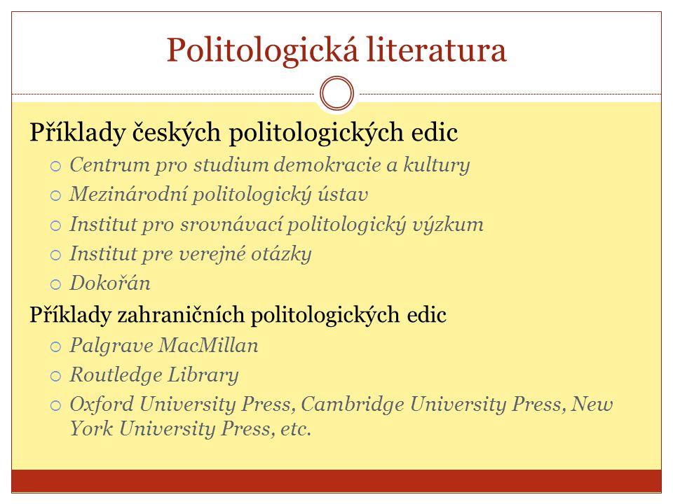 Politologická literatura Příklady českých politologických edic  Centrum pro studium demokracie a kultury  Mezinárodní politologický ústav  Institut