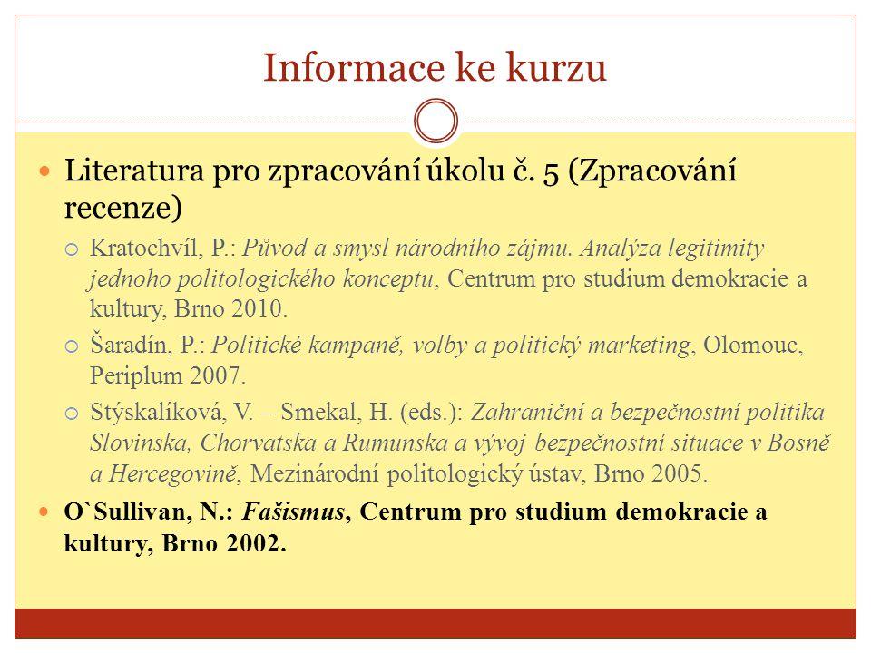 Informace ke kurzu Literatura pro zpracování úkolu č. 5 (Zpracování recenze)  Kratochvíl, P.: Původ a smysl národního zájmu. Analýza legitimity jedno