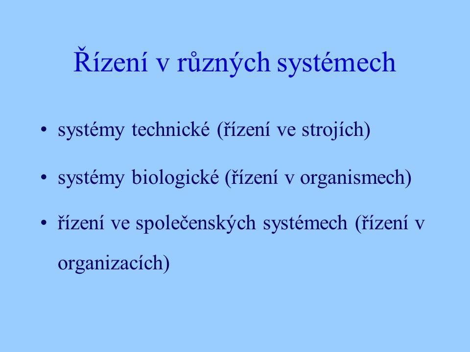 Řízení v různých systémech systémy technické (řízení ve strojích) systémy biologické (řízení v organismech) řízení ve společenských systémech (řízení v organizacích)