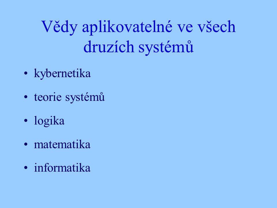Vědy aplikovatelné ve všech druzích systémů kybernetika teorie systémů logika matematika informatika