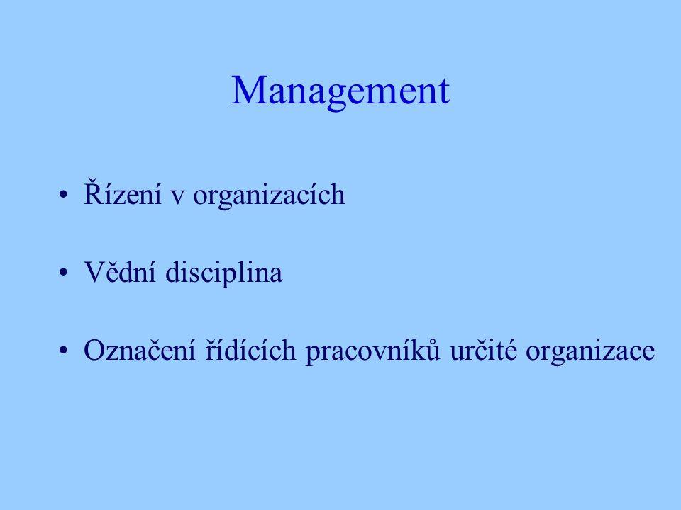 Management Řízení v organizacích Vědní disciplina Označení řídících pracovníků určité organizace