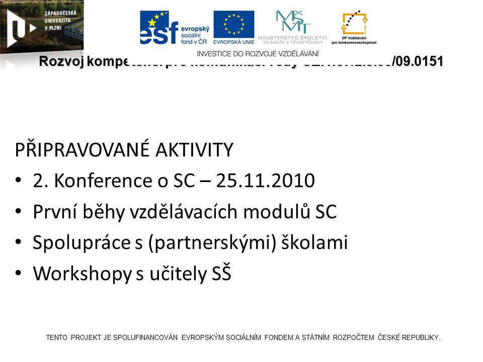 SCICOM Rozvoj kompetencí pro komunikaci vědy CZ.1.07/2.3.00/09.0151 PŘIPRAVOVANÉ AKTIVITY 2.